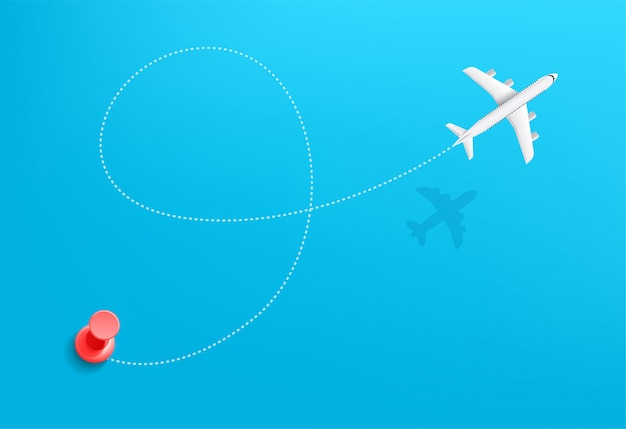 Иллюстрация концепции путешествия путешествия самолета. траектория движения с начальной точкой