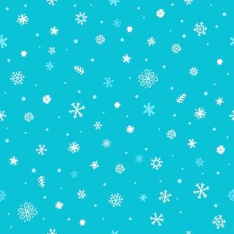 Бесшовные из разных зимних снежинок