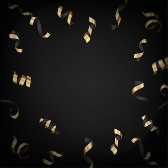 暗い背景に金の落下紙吹雪ベクトルレイアウトと豪華な背景