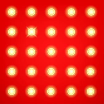 Промо-стена в стиле ретро с лампочками - векторный шаблон
