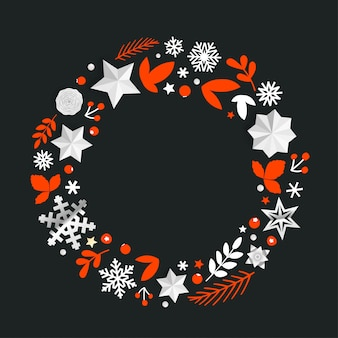 Круглая декоративная рамка с элементами рождества.