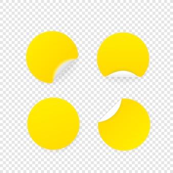 Цветной чистый лист бумаги круговой наклейки векторная коллекция изолирован на прозрачном