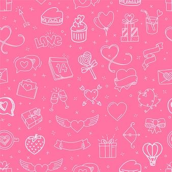 バレンタインデーの要素のシームレスな背景