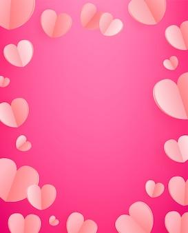 Векторный фон из розовых сердец.