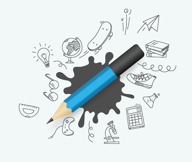 Синий карандаш с рисунками элементов