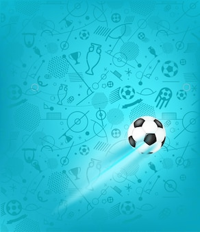 Футбольный мяч на синем фоне