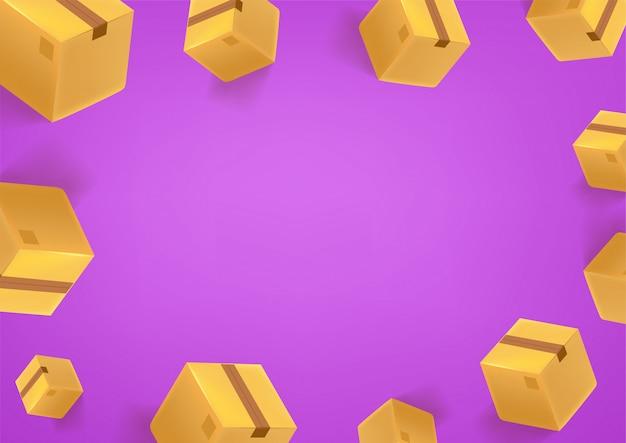 ボックスと紫の壁紙。ソーシャルメディアメッセージの背景。テキストのスペースをコピー