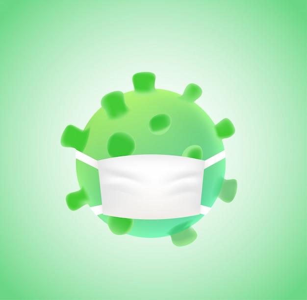 Коронавирус с медицинской маской. нет концепции коронавируса
