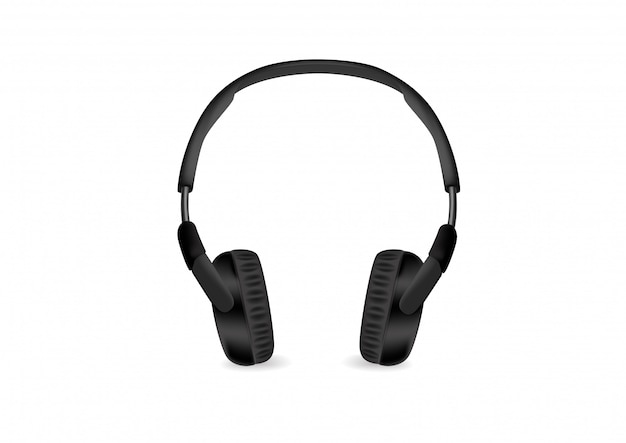 白い背景上に分離されて黒のモダンなワイヤレスヘッドフォン