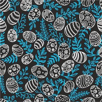 Пасхальный бесшовный фон с яйцами и весенними цветами