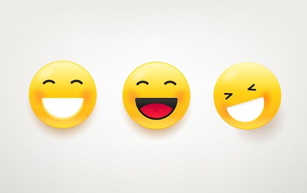 Пакет смеющихся лиц. симпатичный набор символов