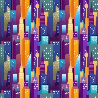 都市景観のシームレスなパターン。色の高層ビルとモダンなダウンタウン
