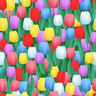 春の色のチューリップのシームレスパターン