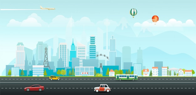 建物や車のある風景朝の都市生活