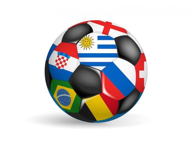 さまざまな国の国旗とサッカーボール。白で隔離されるオブジェクト。世界の概念のゲーム