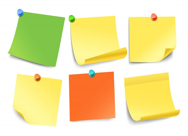 白で隔離される異なる色紙ステッカーコレクション。テキスト用のテンプレート