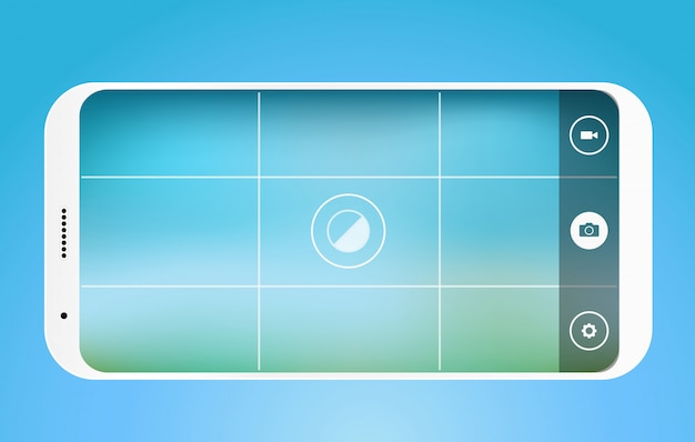 現代のスマートフォン写真アプリケーションテンプレート。角が丸いモダンなスマートフォン