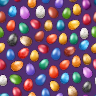 Бесшовный фон с цветными пасхальными яйцами