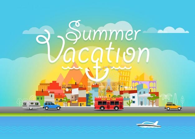 Путешествия векторные иллюстрации. летние каникулы
