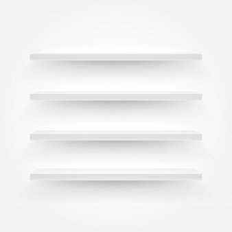 Белые пустые полки векторные иллюстрации. шаблон для контента