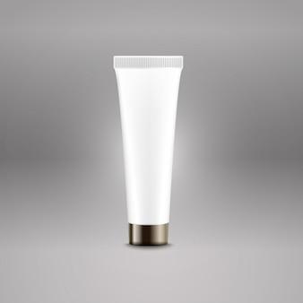 プラスチック製のチューブ広告ベクトルテンプレート。ブランドロゴのクリームボトルのテンプレート