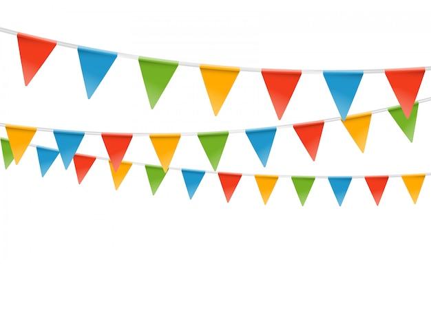 Цветные флаги гирлянды иллюстрации. векторный шаблон для текста