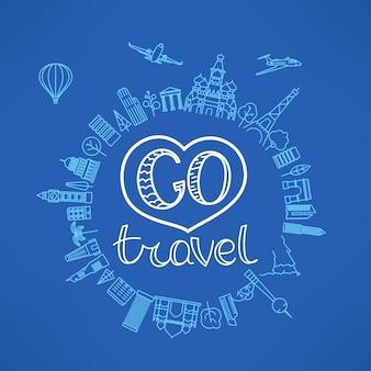 旅行の概念に行きます。ベクトルイラスト