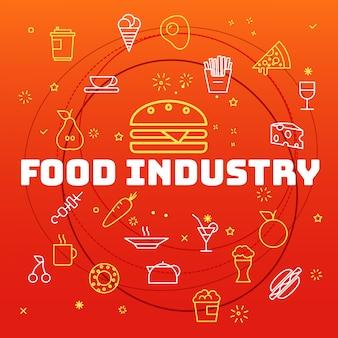 食品業界のコンセプトです。細い線の異なるアイコンが含まれています
