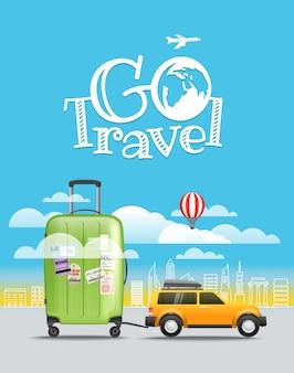 休暇旅行のコンセプトです。手荷物が付いている車。旅行イラストを見る