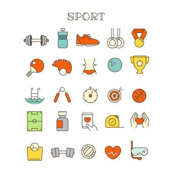 さまざまなスポーツの細い線の色アイコンベクトルを設定