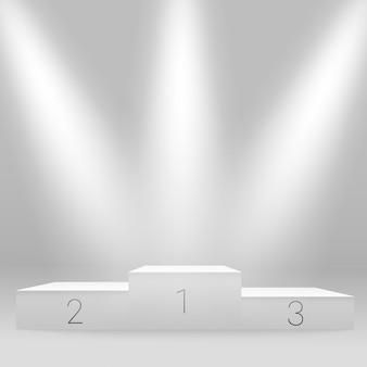 白い照らされたスポーツ表彰台。