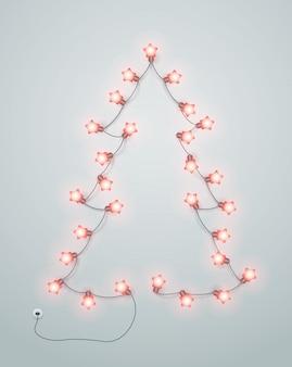 Абстрактная рождественская елка сделанная от гирлянды освещения.