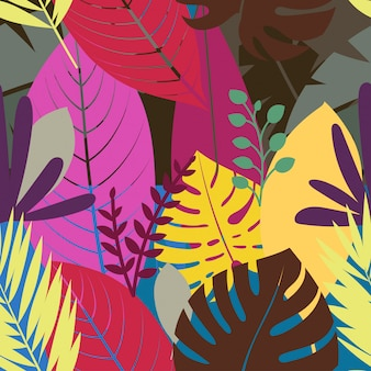Бесшовные с цветными листьями