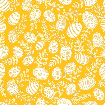 卵と春の花のイースターパターン。シームレスなベクターパターン