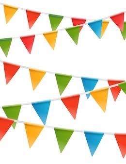 Цветные треугольники флаги гирлянды вектор