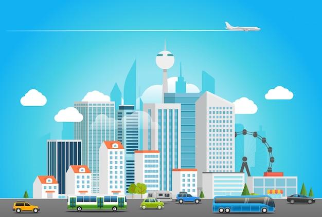 Современная городская жизнь. городской пейзаж с транспортом