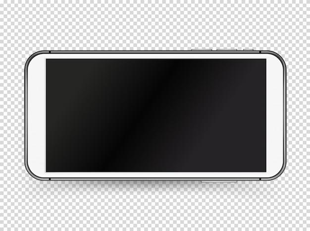 Современный белый смартфон с черным пустым экраном.
