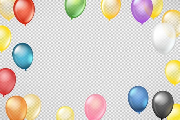 Летающие цветные прозрачные шарики на прозрачных
