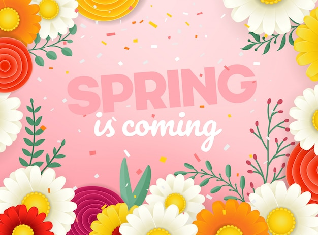 春のセールのベクターバナー。花の写実的なベクトルイラスト