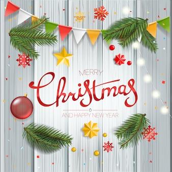 Рождественская открытка с каллиграфическим логотипом.