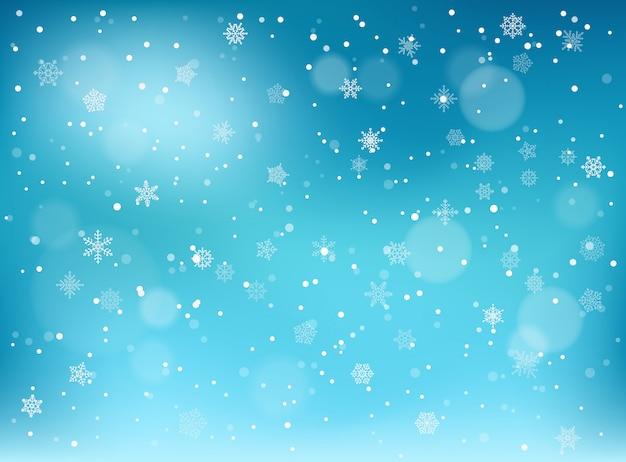 冬の降雪の背景。