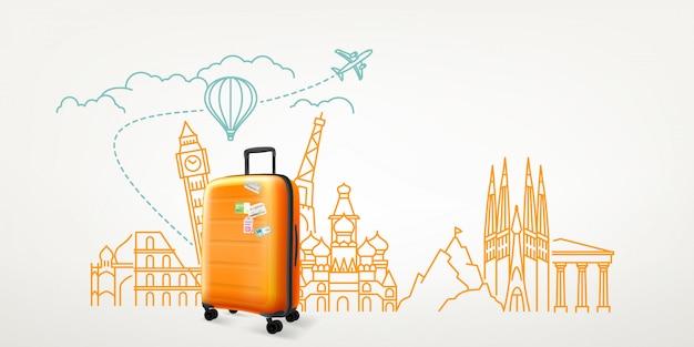 Фотореалистичный чемодан с различными элементами путешествия. мир путешествий вектор концепция