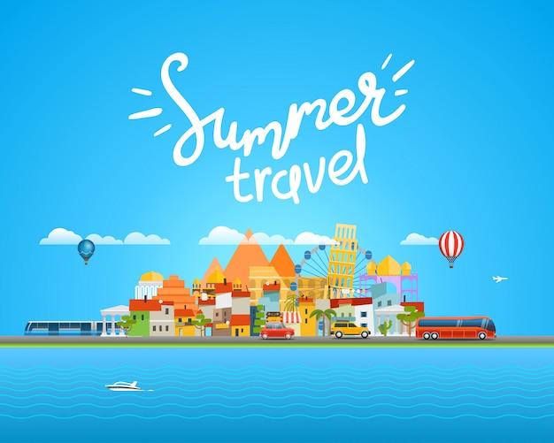 Вокруг света концепция путешествия с каллиграфическим логотипом
