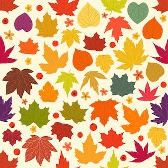 色のカエデの葉のシームレスな背景
