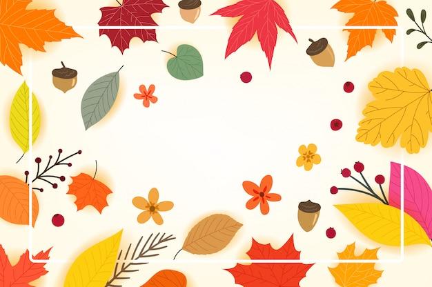 白いフレームと色の紅葉、