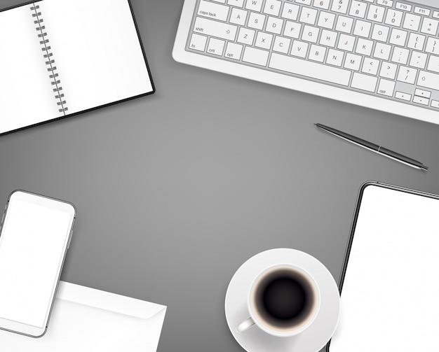事務用文房具。テーブルの上のさまざまなビジネスのもの。上面図