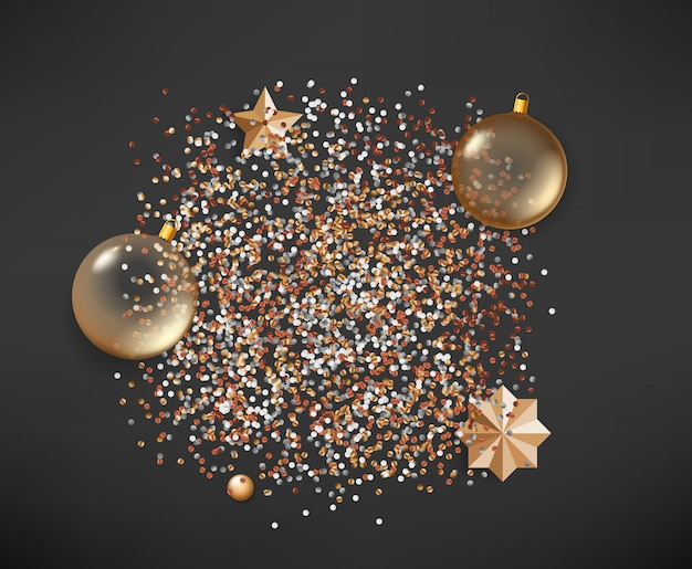 暗い背景にさまざまなクリスマス要素
