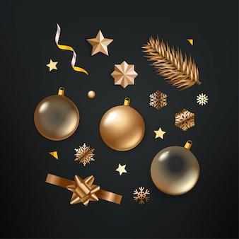 Различные золотые рождественские элементы клипарт на черном фоне