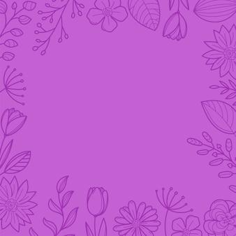 紫の花のフレームの背景。テキストのテンプレート