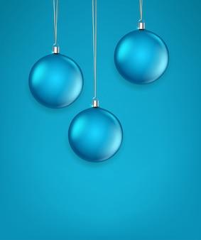 Матовое зеленое стекло рождество безделушки векторные иллюстрации. шаблон для поздравительной открытки